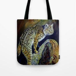 Bobcat  Painting  wildlife art  bold brushstrokes combined with vivid colours Alla Prima style favou Tote Bag