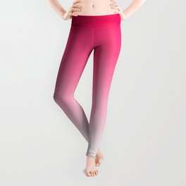 Modern bright simple neon pink white color ombre gradient Leggings