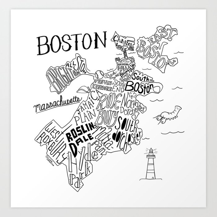 Boston Map Art Print By Clairelordon Society6
