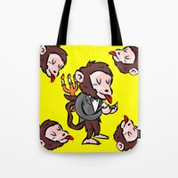 black butler Tote Bags featuring monkey butler  mono mayordomo by gran mike