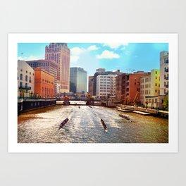 Milwaukee River Boats Art Print