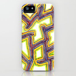 Outlined Fancy White Shapes Pattern iPhone Case