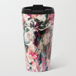 Watercolor Elephant and Flowers Travel Mug