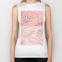 pink and black leaves Biker Tank