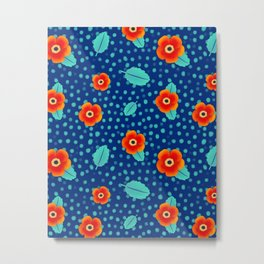 Tiny Red Flowers on Dark Background with Turquoise Leaves Pattern | Surface Design Metal Print