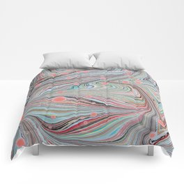 Marbled Multi-color Organic Pattern Comforters