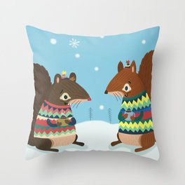 Squirrel Friends Throw Pillow