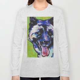 Fun Akita Dog Portrait bright colorful Pop Art by LEA Long Sleeve T-shirt