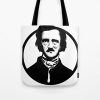 edgar allen poe Tote Bags featuring Poe by Zombie Rust