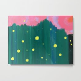 Tall Grass Pink Sky - Fireflies 1 Metal Print