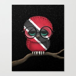 Baby Owl with Glasses and Trinidadian Flag Canvas Print