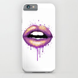Lips Art Colorful Purple Gold Watercolor iPhone Case