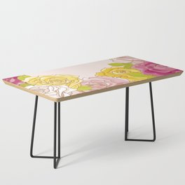 Yellow and pink roses. Spring mood. Coffee Table