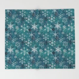 Snowflake Crystals in Turquoise Throw Blanket