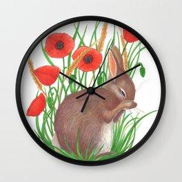 shy bunny in poppy field Wall Clock