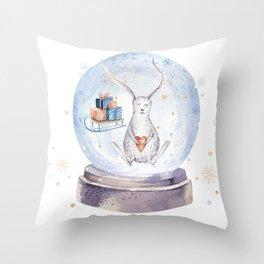 Christmas bunny #3 Throw Pillow