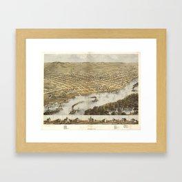 Vintage Pictorial Map of La Crosse WI (1867) Framed Art Print