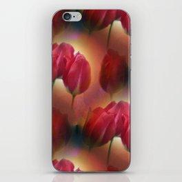watercolored tulip pattern iPhone Skin