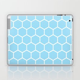 White and light blue honeycomb pattern Laptop & iPad Skin