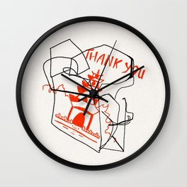 Chinese Food Takeout - Contour Line Drawing Wall Clock