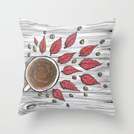 Hot coffee on a chilly fall day Throw Pillow