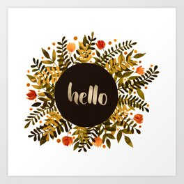 Hello flowers and branches - ochre and sap green Art Print