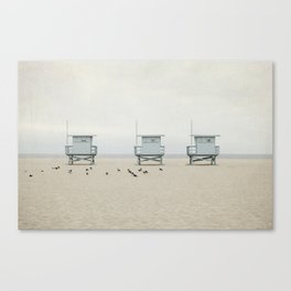 Lifeguard Towers with Birds Canvas Print