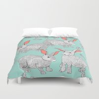 rabbits Duvet Covers featuring Rabbits by Wee Jock