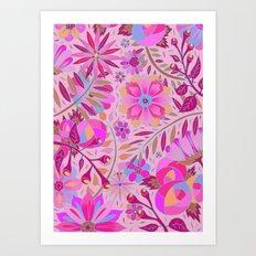 Bright Pink Floral Art Print