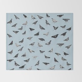 Pigeons Doing Pigeon Things Throw Blanket