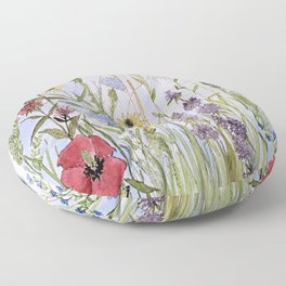 Wildflower Garden Watercolor Flower Illustration Floor Pillow
