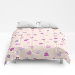 Love, Romance, Hearts - Blue Purple Pink Comforters