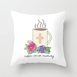 Coffee, Christ & Creativity Throw Pillow