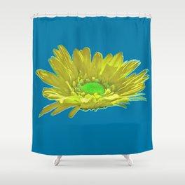 Yellow Petal On Blue Shower Curtain