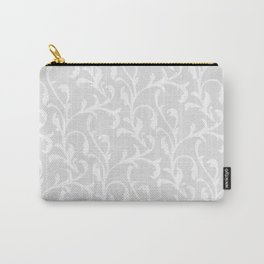 Pastel gray white abstract vintage damask pattern Carry-All Pouch