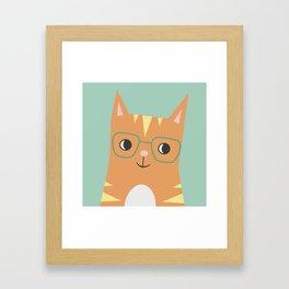 Tabby Cat with Glasses Framed Art Print