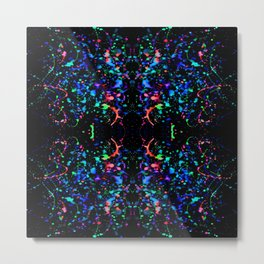 Night Splatter Neon Lights Metal Print