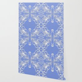Periwinkle Blue Butterfly Floral Wallpaper