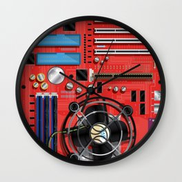 Computer Motherboard Electronics. Wall Clock