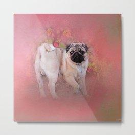Pug In The Garden Metal Print