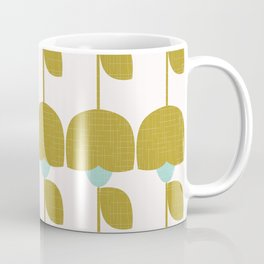 Mostard and Mint Retro Flowers in Scandianvian Style Coffee Mug
