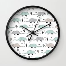 Cool western cactus desert Armadillo Animals illustration pattern Wall Clock