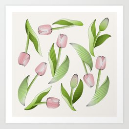 Retro Chic Pink Tulip Patten Art Print