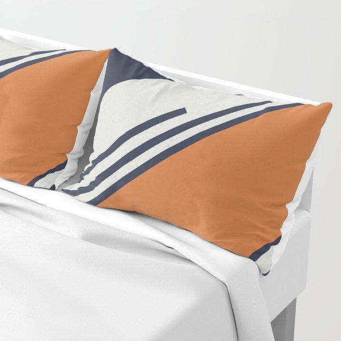 Retro Stripes in Blue Orange Pillow Sham