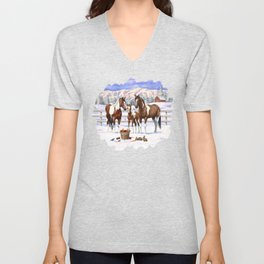 Bay Pinto Paint Horses In Snow Unisex V-Neck
