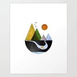Scandinavian Mountains Abstract Geometric Landscape Art Print