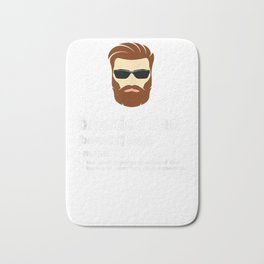 Funny Dad t-Shirt; Bearded Dad with Brown Hair or Dark Hair Bath Mat