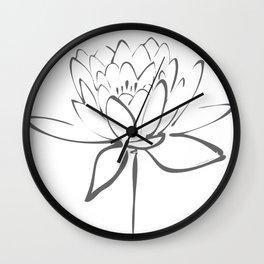 Lotus Blossom Calligraphy Smoke Grey Wall Clock