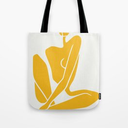 Sitting nude in yellow Tote Bag