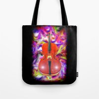 cello Tote Bags featuring Psychedelic Cello by JT Digital Art